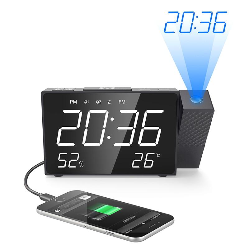 2019 New Digital Radio Projection Alarm Clock Power Back USB Charger Mirror LED Display Timed Wake Up Desk Table Led Alarm Clock