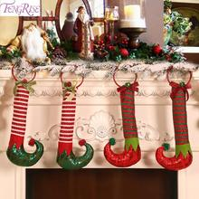 Merry Christmas 2019 Red Hanging Stockings Decoration For Home Pendent Ornament Noel Navidad