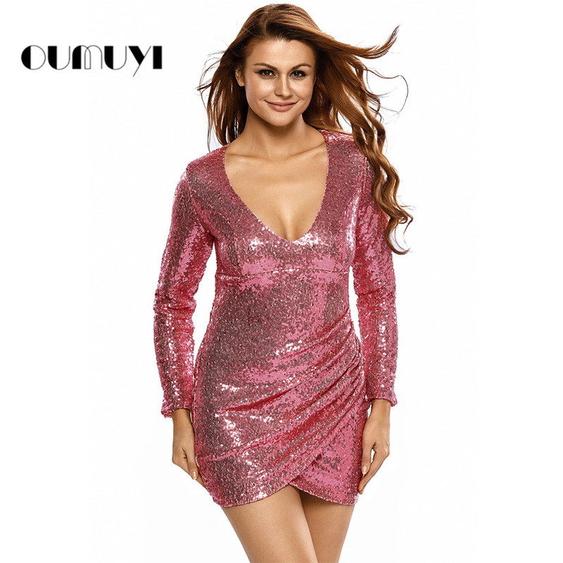 Buy Cheap Fashion Women Dress Sequins Sexy V-neck Long Sleeves Slim Mini Dress Party Night Dresses