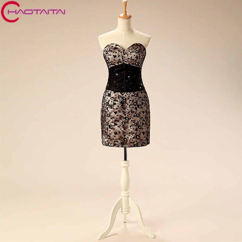 New Arrival 2018 Sexy Black Beaded Lace Mini   Cocktail     Dresses   for Girls Formal Short Party Designer Formal Holiday Gown