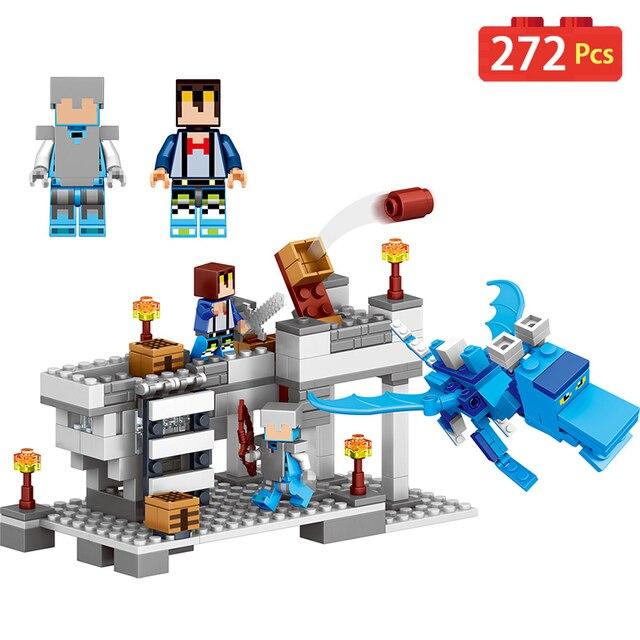 272 pcs Novo O Meu Mundo Compatível LegoINGLYS Building Blocks Minecrafter Alar Gelo Dragão Brinquedos Para Presente Das Crianças