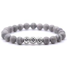 KANGKANG Hot Selling Natural Stone Gray and Light Brown Bead  Bracelet 8mm Elastic Rope Fashion Men Women Jewelry
