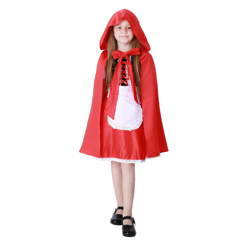 Purim carnalval Kids Fairy Tales Little Red Riding Hood Costume Red Cap Cloak Children Anime Cosplay Cape Clothing Halloween
