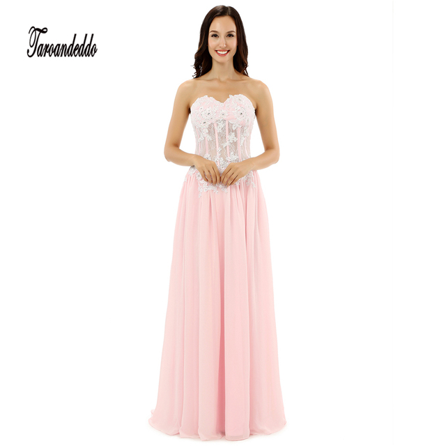 Sweetheart Neckline Exposed Boning See Through Pink Prom Dress ...