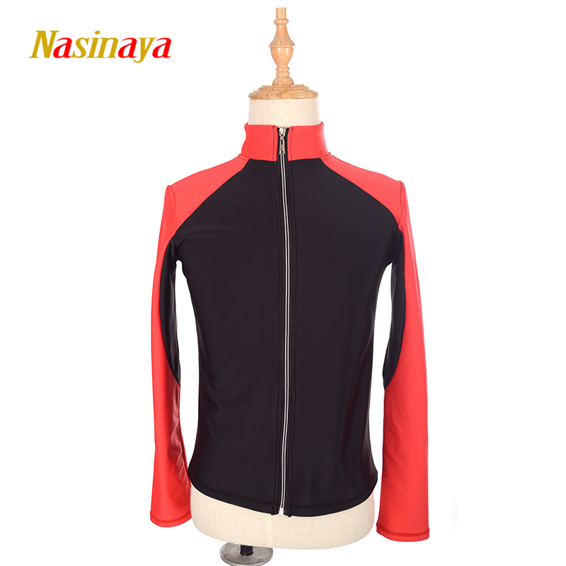 Customized Figure Skating Jacket Zippered Tops for Boy Men Training Competition Patinaje Ice Skating Warm Fleece