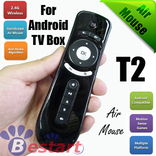 2.4GHz Mini Wireless Fly Gaming Air Mouse T2 for Laptop,  Remote Control for Android Google TV BOX, Best Price