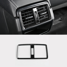 Car Rear Console Air Conditioner Outlet Frame Cover Trim  Stickers  Styling For Skoda Karoq 2017 2018 car rearguards trunk rear tail box bumper pedal plate car styling for skoda karoq 2017 2018