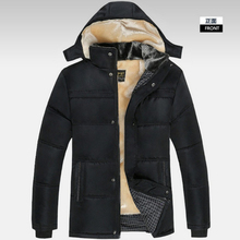 2017 Parka men fashion Large Size winter jacket men solid black thick winter's jackets hooded wool liner warm Down cotton coats