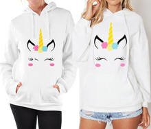 Warm Winter Vrouwen Hooded Lange Mouwen Sweatershirt Cartoon Eenhoorn Paar Afdrukken Hoodies Jas(China)