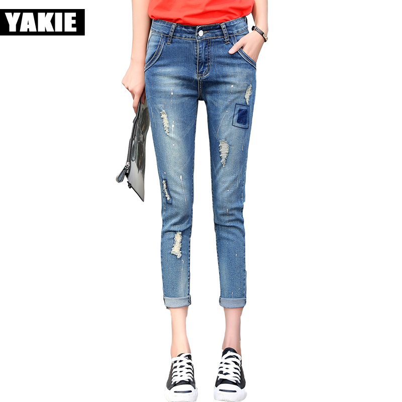 Ripped Jeans For Women boyfriend loose Denim Capri Jeans Femme Stretch Plus Size Female Jeans Mujer Slim harem Pants For Women boyfriend wide leg denim stretch jeans autumn loose push up slim pants high waisted soft cotton jeans holes ripped for women