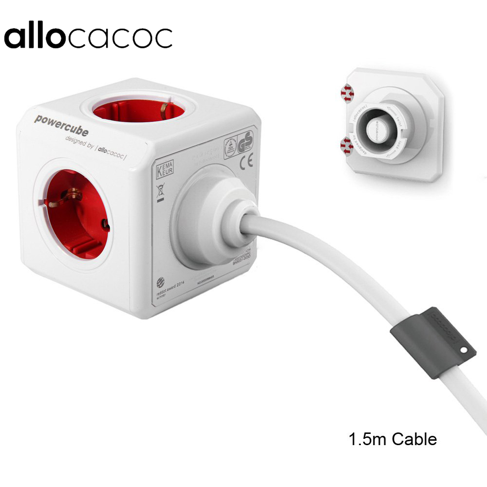 Allocacoc Extended PowerCube Socket EU DE Plug 5 Outlets Adapter with 1 5m 3m Cable Extension