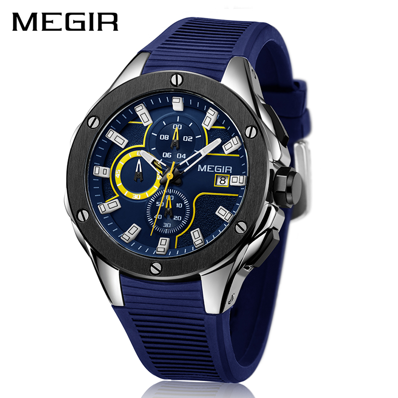 MEGIR Men Sport Watch Chronograph Silicone Strap Quartz Army Military Watches Clock Men Top Brand Luxury Male Relogio Masculino reef tiger brand men s luxury swiss sport watches silicone quartz super grand chronograph super bright watch relogio masculino
