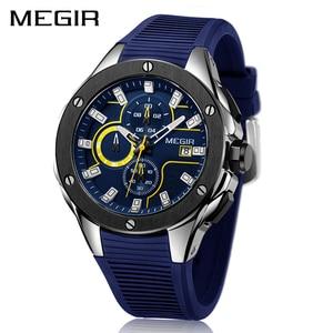 Image 1 - Megir 男性スポーツ腕時計トップブランドの高級防水発光クロノグラフクォーツ陸軍軍事腕時計時計男性レロジオ masculino
