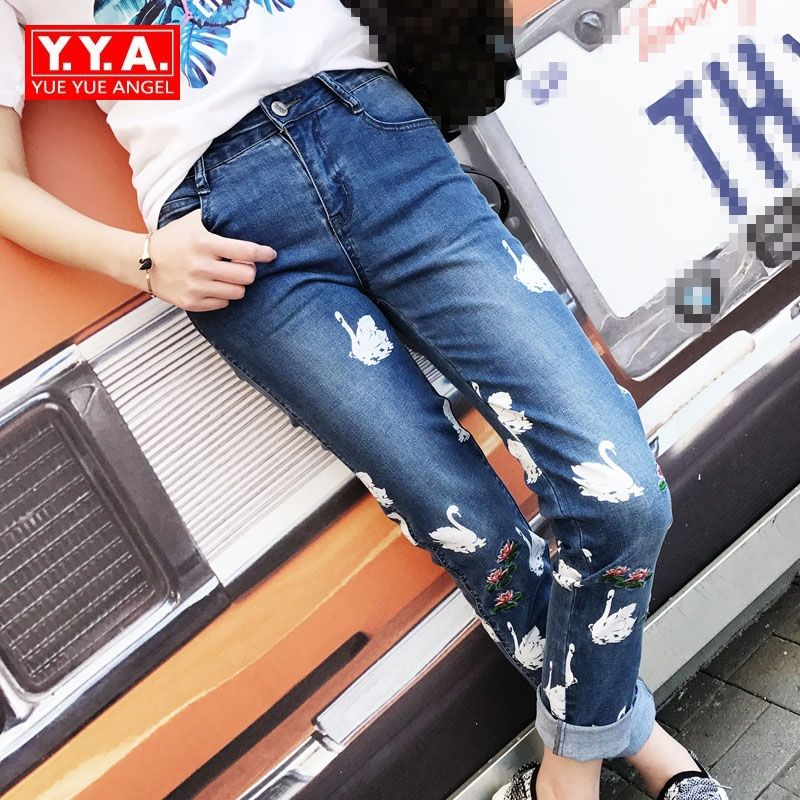High Waist Women Jeans High Quality Brand Skinny Pencil Pants Female Trousers Embroidery Pattern Washed Hole Ripped Plus Size colorful brand large size jeans xl 5xl 2017 spring and summer new hole jeans nine pants high waist was thin slim pants