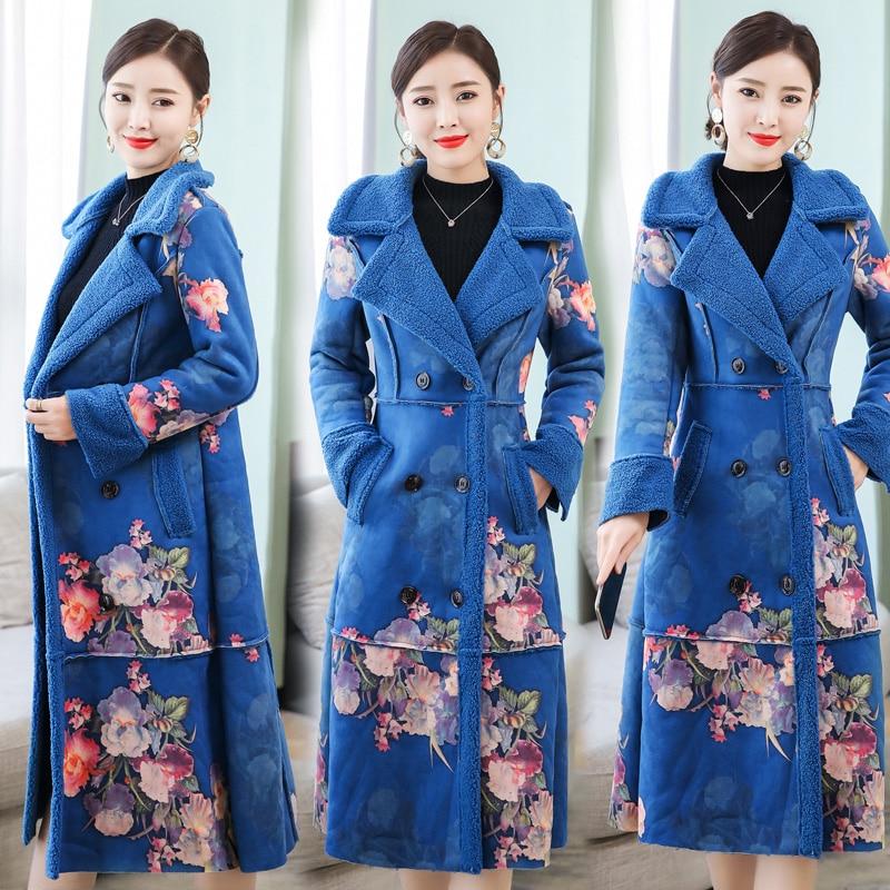 Wool coat women winter coats Plus size large warm thick   parka   long jacket floral elegant vintage female high quality clothes