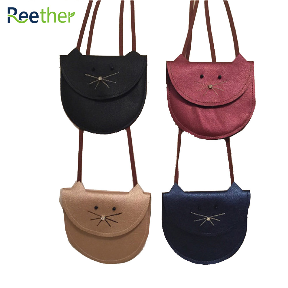Reether Girl Mini Shoulder Bag PU Leather Wallet Purses Childrens Coin Pouch Cute Cat Small Bag Decoration Gifts