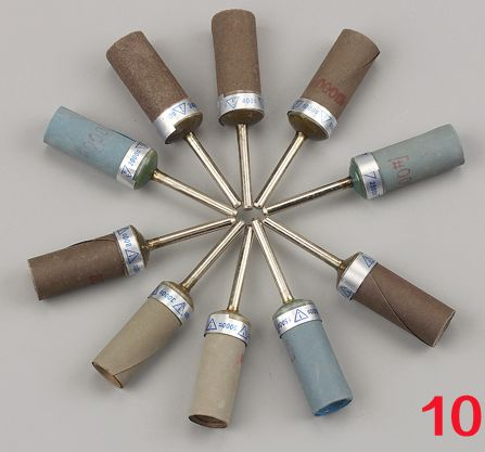 10ks / šarže 2.3 / 3mm stopka brusný brusný papír brusný papír rotační fréza nefrit jantarová brusná hlava leštící tyč kovová řezba dřeva