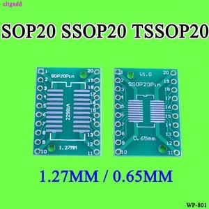 cltgxdd 10pcs SOP20 SSOP20 TSSOP20 To DIP20 Pitch 0.65/1.27mm IC Adapter PCB Board(China)