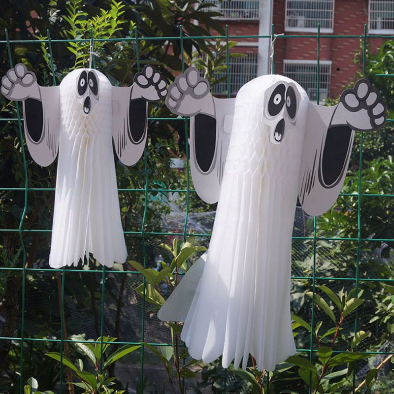 2pc Halloween White Ghost Wall Hanging Paper Small Haunted