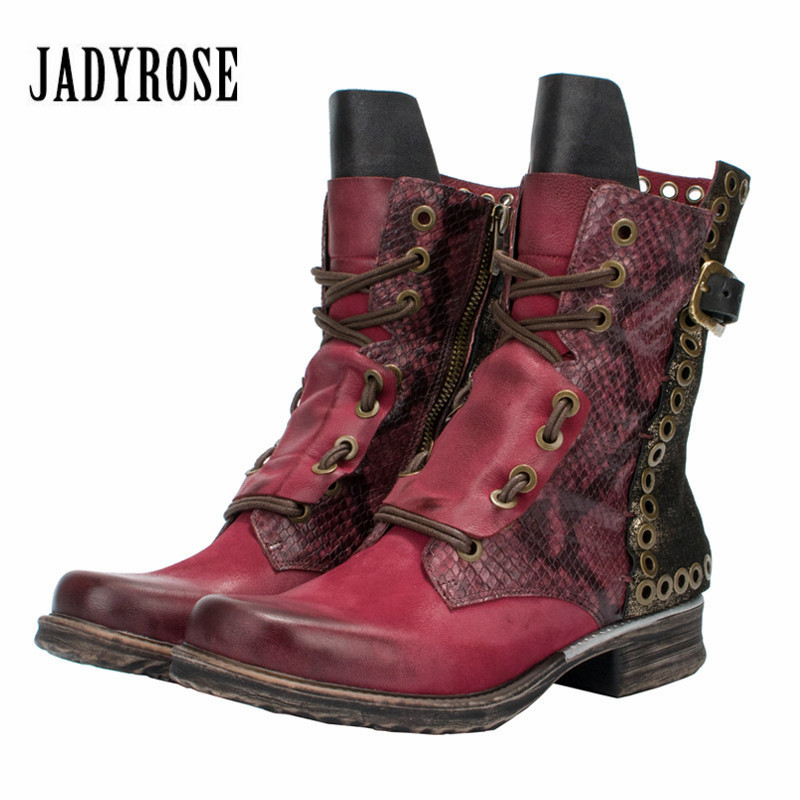 Jady Rose 2018 New Mixed Color Ankle Boots for Women Autumn Winter Flat Botas Mujer Female Rivets Platform Rubber Short Booties jady rose casual gray women ankle boots straps genuine leather short flat botas autumn winter female platform martin boot