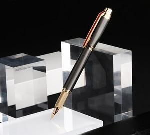 Image 3 - גיבור 200E 14K זהב אוסף מזרקת עט מט שחור/אפור זהב/כסף קליפ בסדר ציפורן מתנה עט ותיבה עבור עסקים משרד