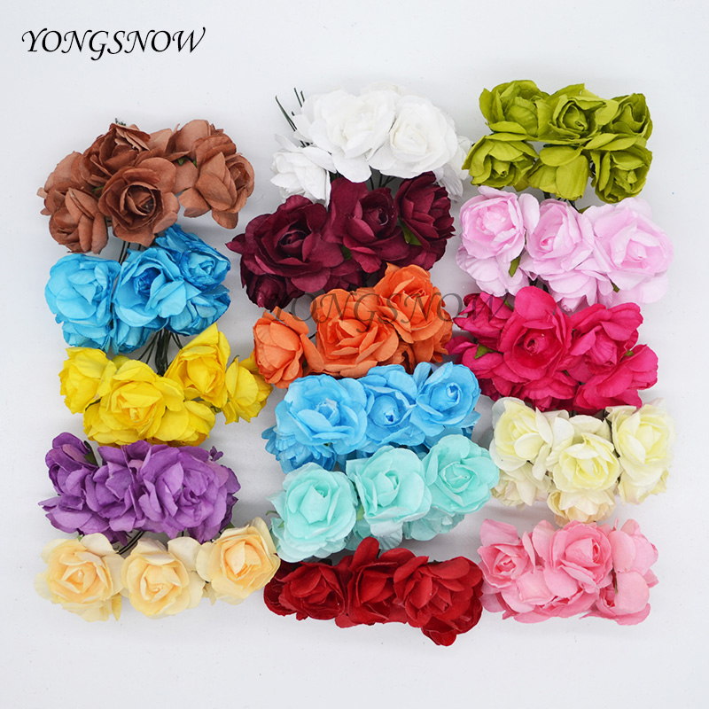 144Pcs/lot 3cm Multicolor Artificial Azaleas Paper Flower Head For Wedding Party Decoration Home Garden DIY Wreaths Supplies 9Z