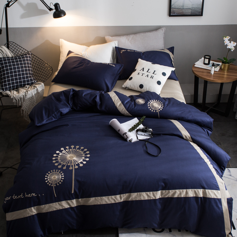 4pcs Owl Embroidery bedding sets Twin queen king size duvet cover set 100%Cotton pineapple luxury bedlinen - 4