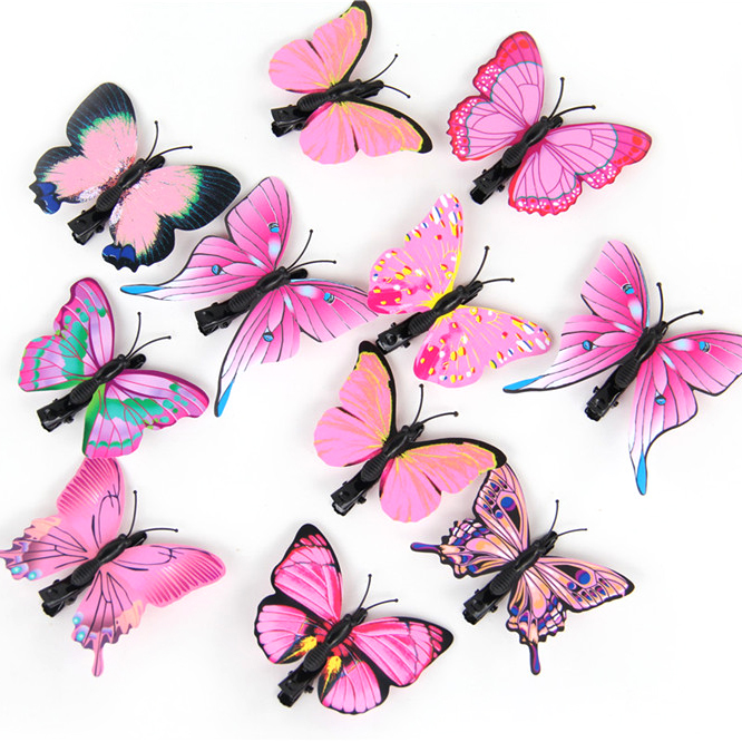 20pcs/lot Artificial Butterfly Hair Clips Woman Girls Hair Accessories Headwear Multi Colors