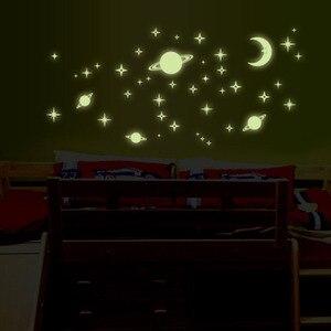 Image 2 - 1 팩 형광 벽 스티커 별 문 홈 장식 빛나는 공간 행성 벽 스티커 소년 어린이 방 DIY 전사 술