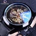 Forsining Blau Hardlex Glas Schwarz Echtes Leder Transparent Durchbrochene Männer Mechanische Automatische Uhren Top-marke Luxus Uhr