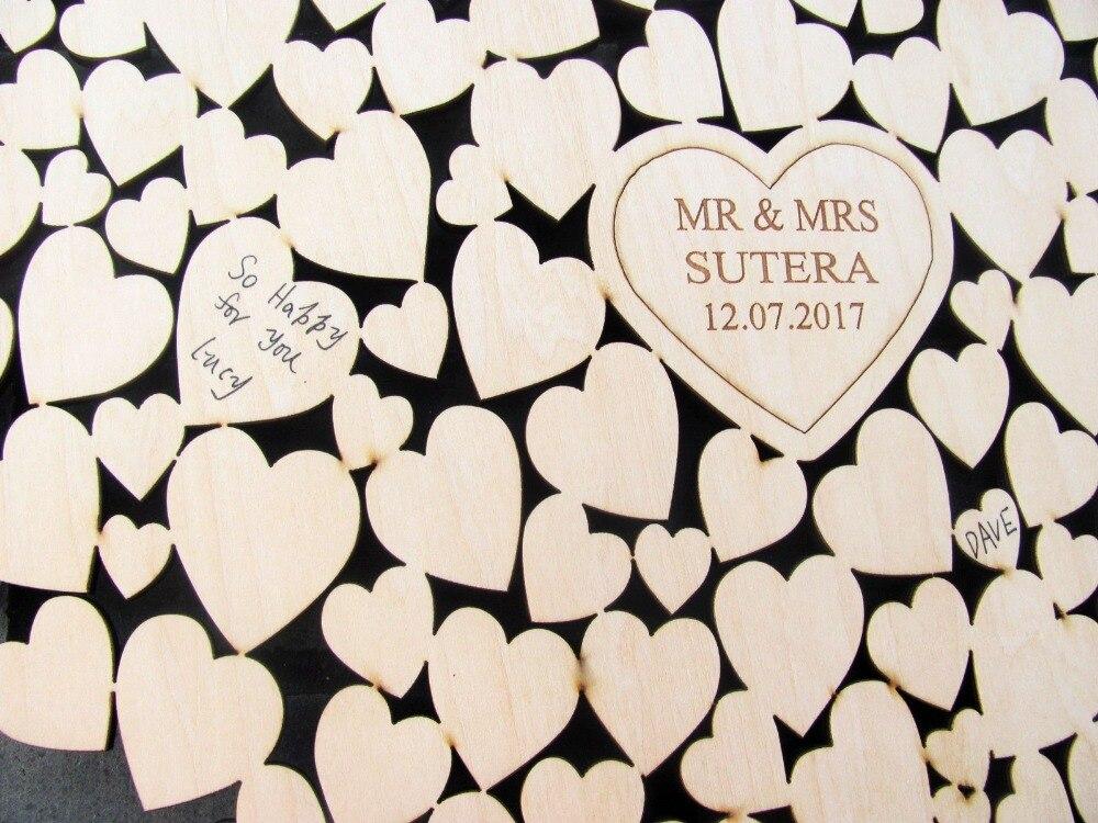 Gümrük Kişiselleştirilmiş Kalp Düğün Ziyaretçi Defteri Alternatif