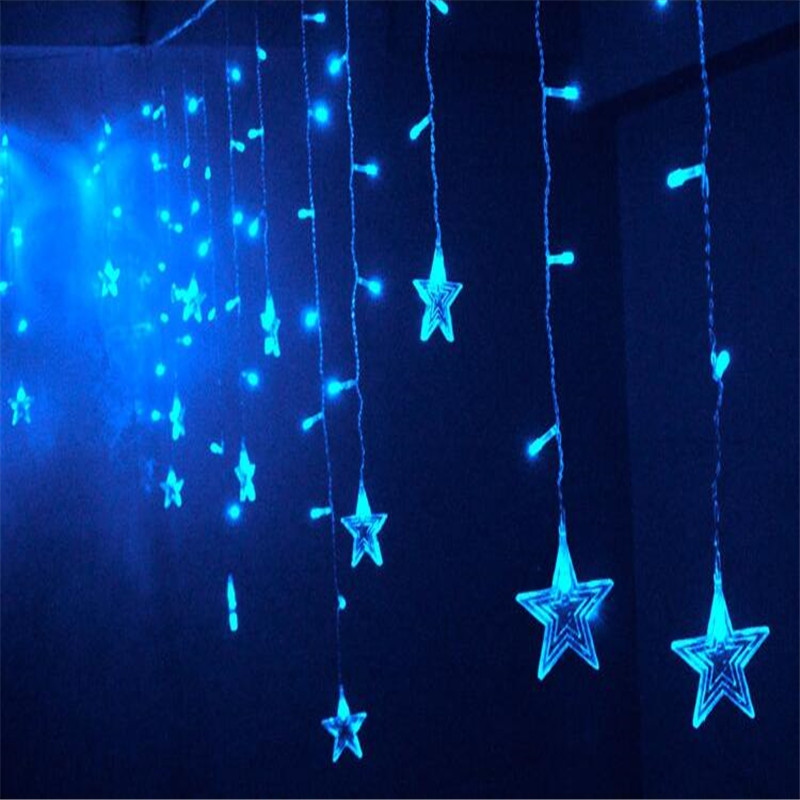 3.5m Stars Colorful Waterproof Waterfall LED String Lights Outdoor Wedding Decorations Holiday Festival Party Fairy Lights H-27
