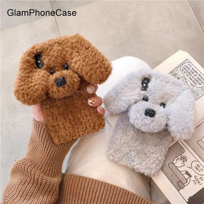GlamPhoneCase Niedlichen Kaninchen Haar Hund Plüsch Telefon Fall für iPhone XS Max XS XR 8 8 plus 7 7 plus 6/6 s Plus Fur Fluffy Weiche Rückseitige Abdeckung
