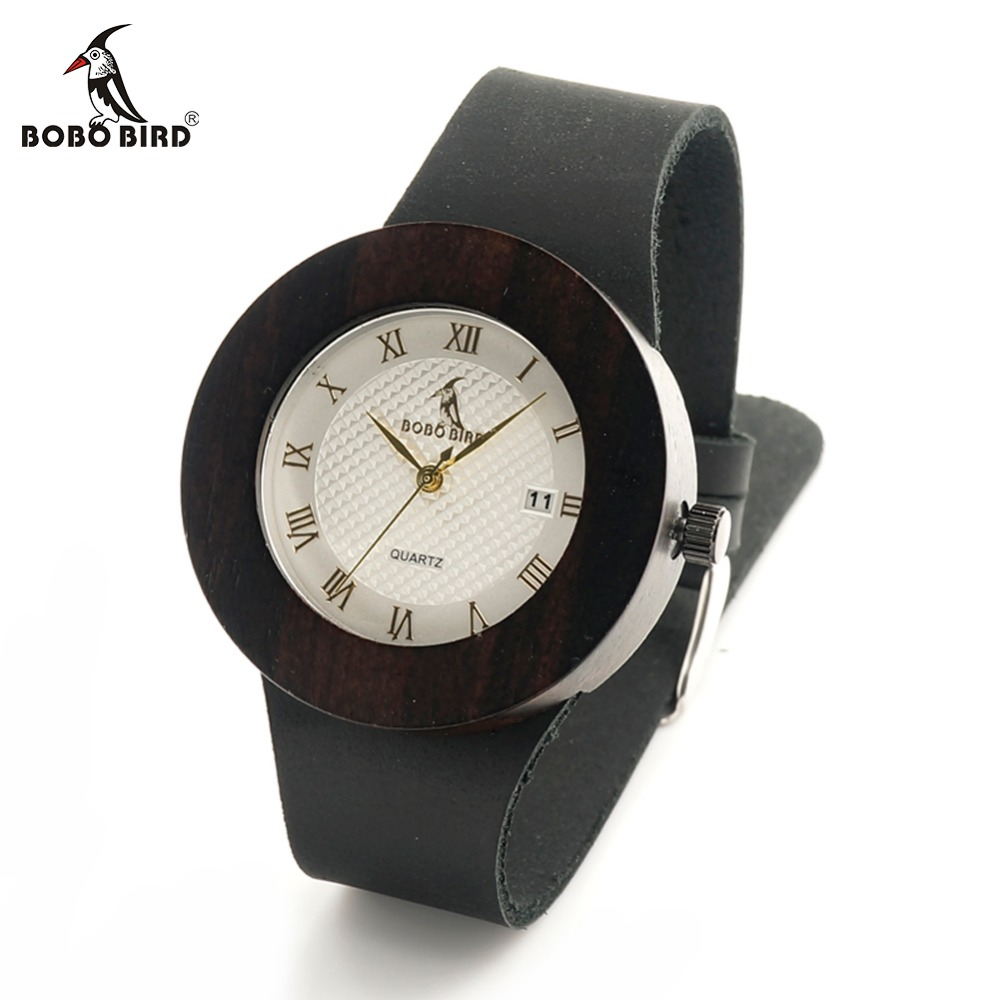 BOBO BIRD C02 Black Wooden Watch Genuine Leather Strap Metal Scale Quartz Analog Calendar Quality Miyota