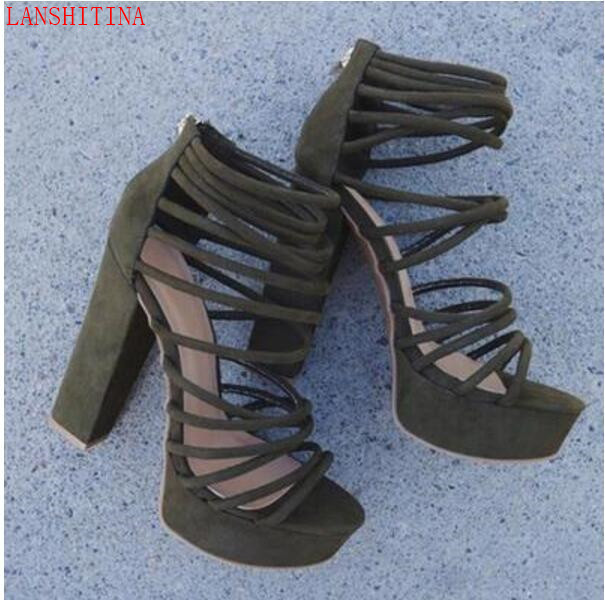 7c775bd9e57 LANSHITINA 2017 Women PVC Sandals chunky heel Sandals caged booties open  toe party shoes cuts out gladiator sandals-in Women s Sandals from Shoes on  ...