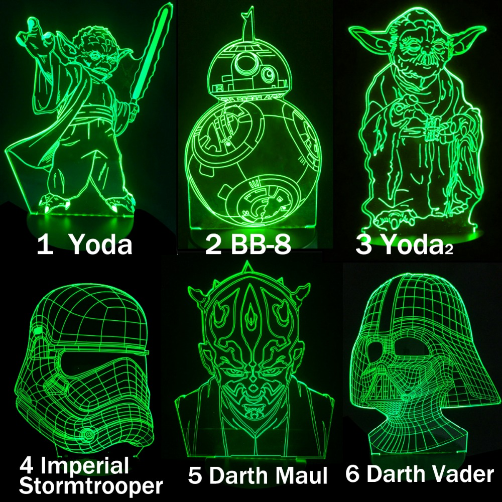 VCity Yoda BB8 3D Lamp Table Led Creative Gifts Night Light Table Lighting LED RGB Light Kids Bedroom Decor Collecter Movie Fans
