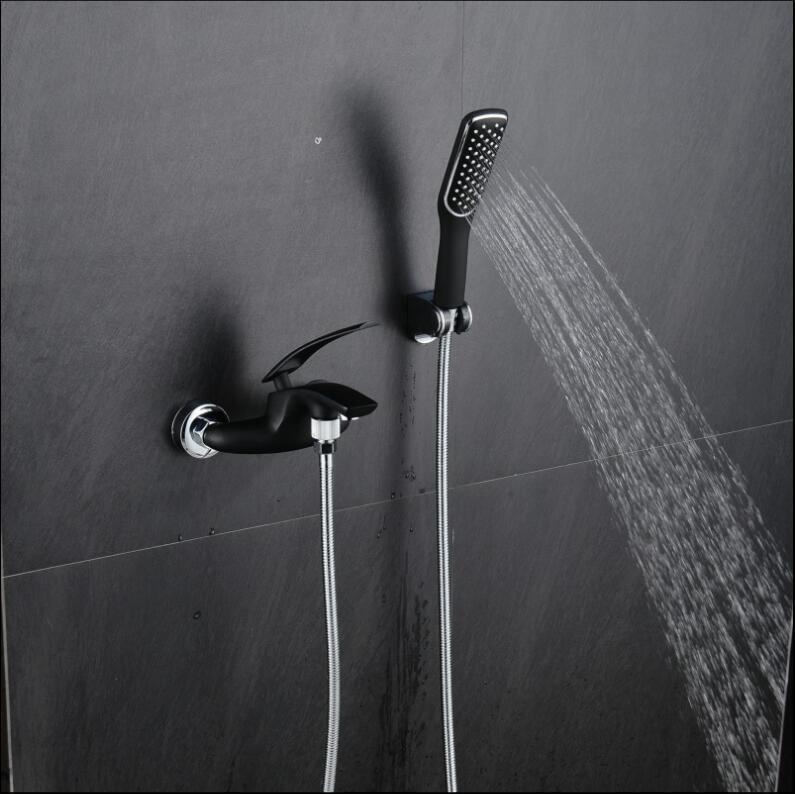 Bath & Shower Faucet white/orange/green/black/chrome wall mounted bathtub faucet exposed B&S faucet set hand held Shower head