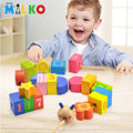 wooden wear bead blocks toy bricks for baby Montessori develop early educational math colorful kid learn string Children gift