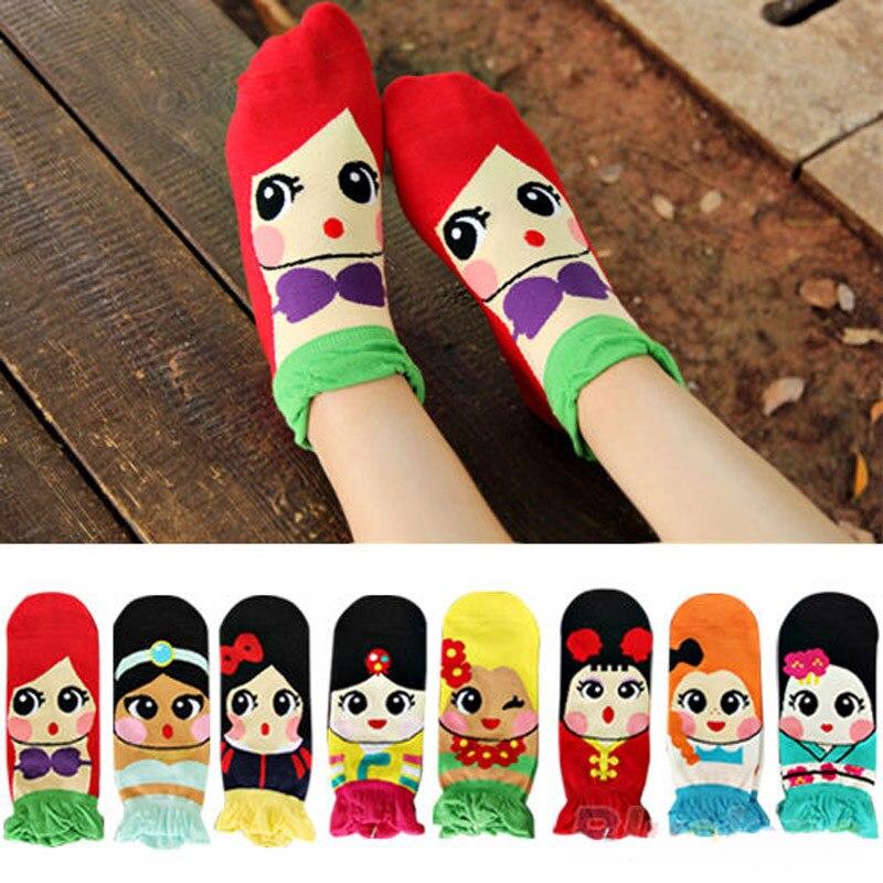 Women Girl's Cartoon Ankle Art Socks Kawaii Ladies Cotton Funny Socks Princess Anna Fiolla Jasmine Mermaid Fashion Tube Sock