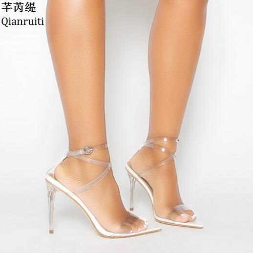 Qianruiti Cross-tied High Heels Women Sandals Transparent PVC Ankle Starp Women Shoes Open Toe Clear Stiletto Heels Women Pumps цена 2017
