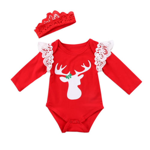 Christmas Baby Girls Xmas Deer Lace Long Sleeve Top Jumpsuit Bodysuit Clothes 2018 New 0-24M