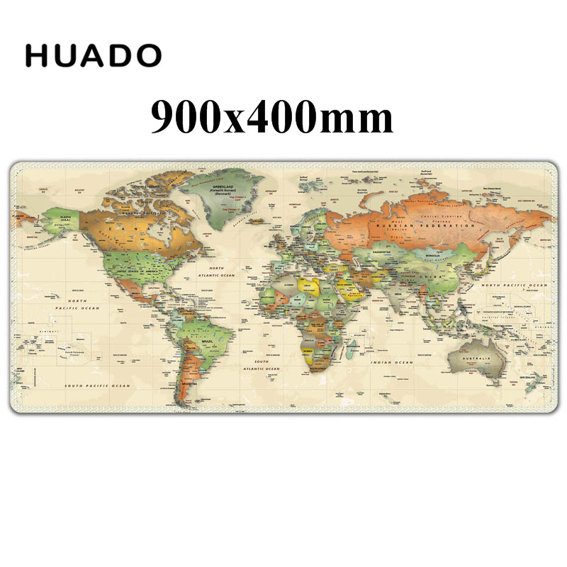 gaming mouse pad with edge locking 900x400 world map mouse mat for csgo/league of legends/dota/lol pad цена и фото