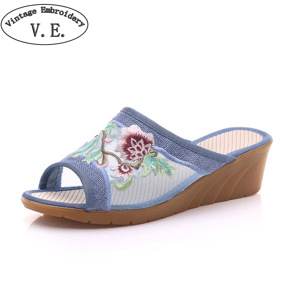 Chinese Women Summer Slippers Flower Embroidered Gauze Slipper Soft Comfortable Casual Shoes Woman Linen Sandals mnixuan chinese embroidered women shoes