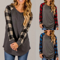 Plus Size Female T Shirt 2018 New Plaid Raglan T Shirts For Women Long Sleeve O