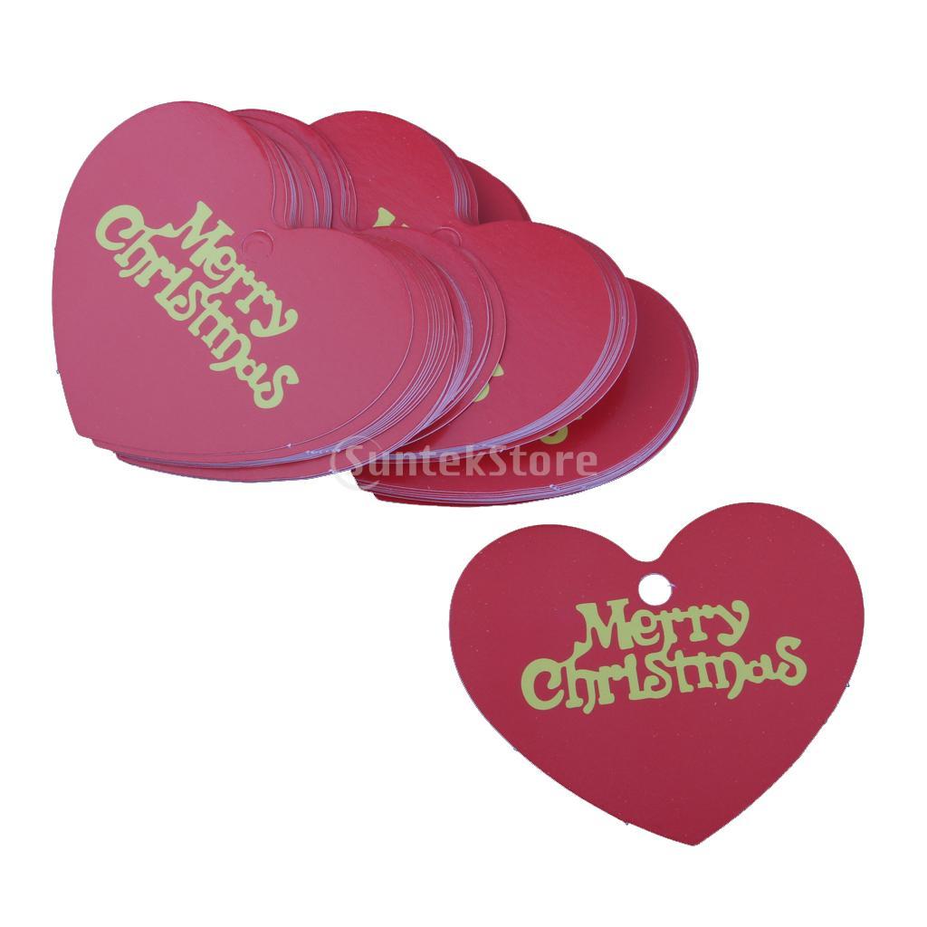 Phenovo 48 50pcs Merry Christmas Heart Shape Paper Hang Tags Label ...