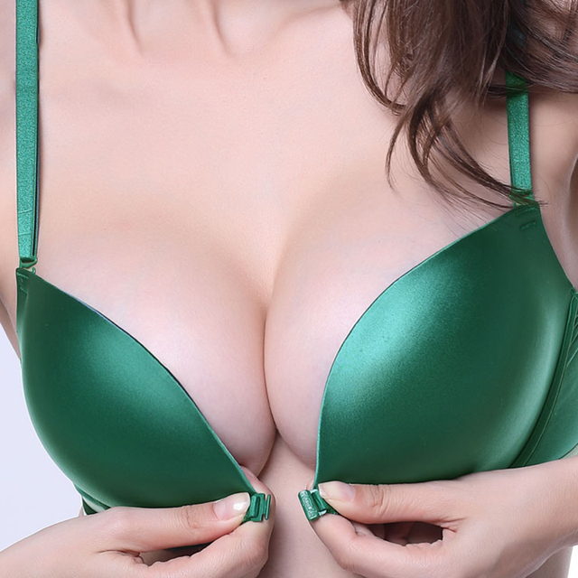 07145c979f Front Closure Wire Free Seamless Bra Push Up Stripe Beauty Back Glossy Bra  Small Breast Gathered