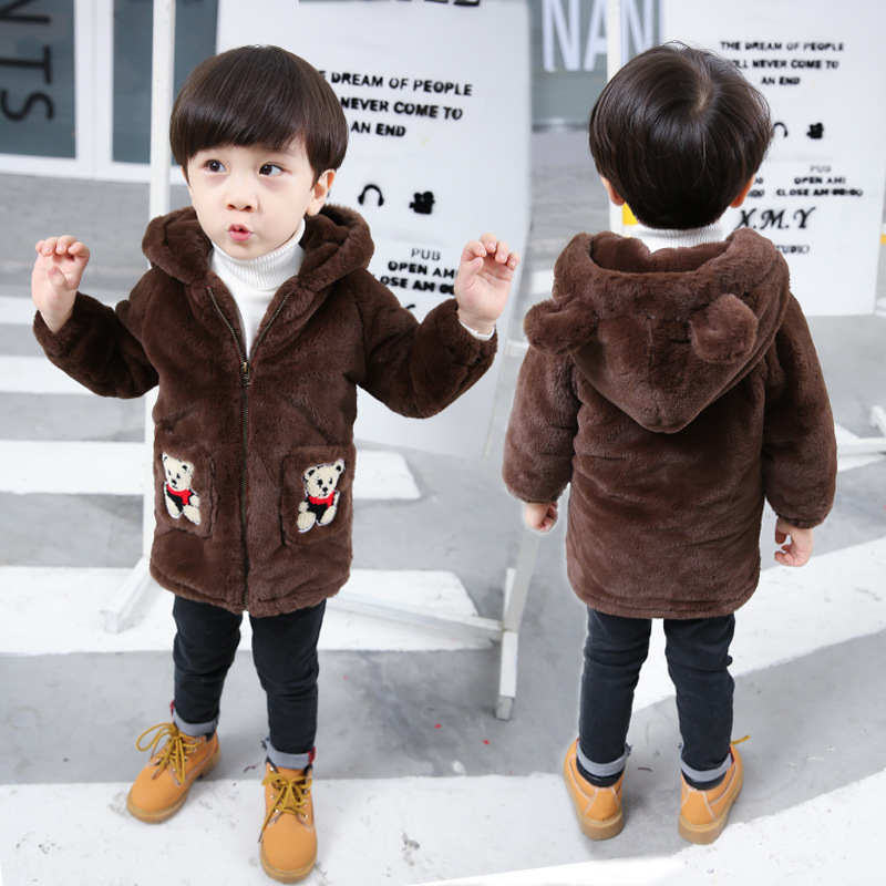 Coats Jacket Winter Fashion Thick Casual Outdoor Hooded Cartoon Flannel Long-Sleeve Boy's
