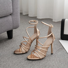 Fashion Women Ankle Strap Sandals Casual PU Buckle Thin Heels 11.5CM Open Toed High Discount Pumps