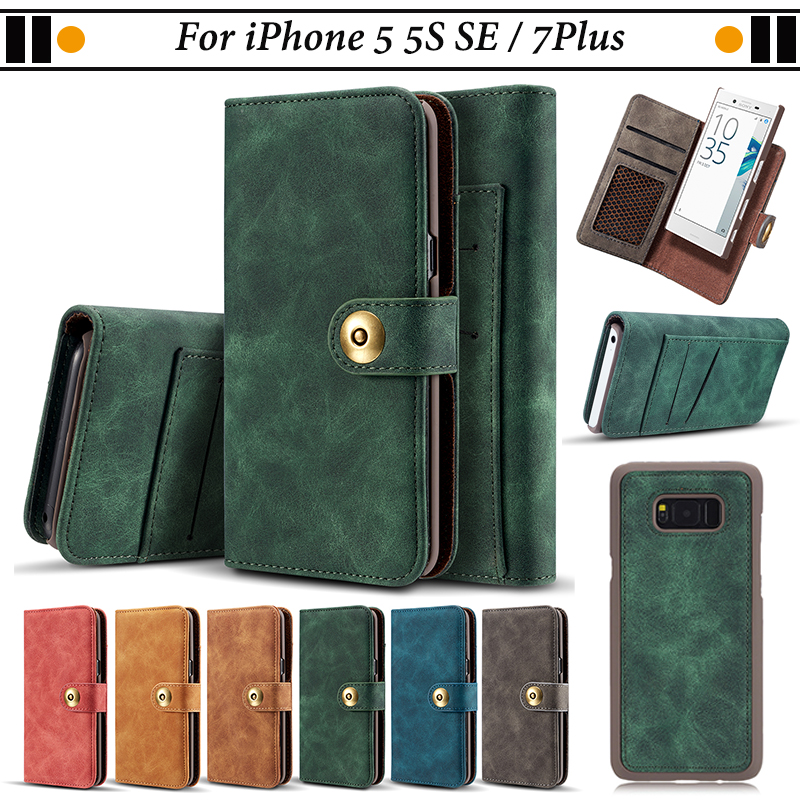 JURCHEN Case For iPhone 5 5S SE Case Leather Flip Cover For iPhone 7 Plus Case Back Cover For iPhone 7Plus 5 S SE Phone Coque