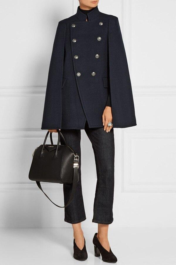 UK осень/зима новейший дизайнер подиума женское Шерстяное пончо большого размера темно-синий плащ пальто женский плащ манто femme abrigos mujer - Цвет: Тёмно-синий